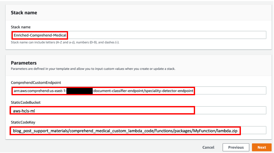 Enter the Amazon Comprehend Custom Endpoint you created