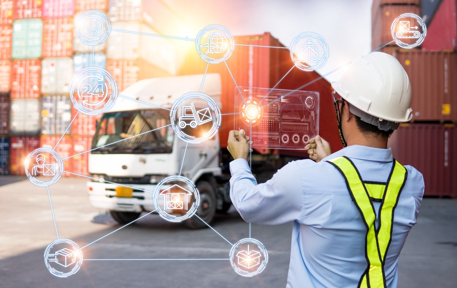 Foreman Working with Global business connection technology interface global partner connection of Container Cargo freight ship for Logistic Import Export background, internet of things