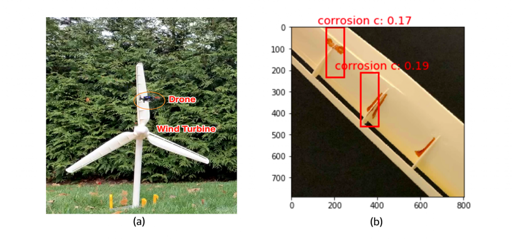 (a) the drone flying in front of the turbine, (b) an example corrosion represented by brown color identified as corrosion by the Amazon SageMaker.