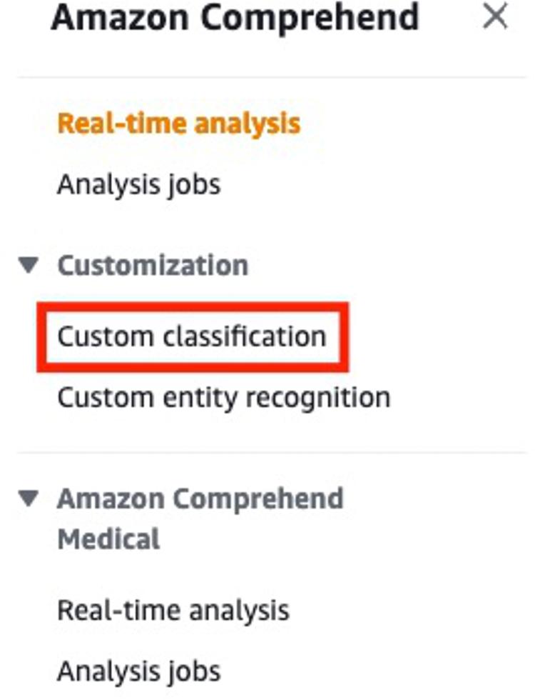 Amazon Comprehend console sidebar