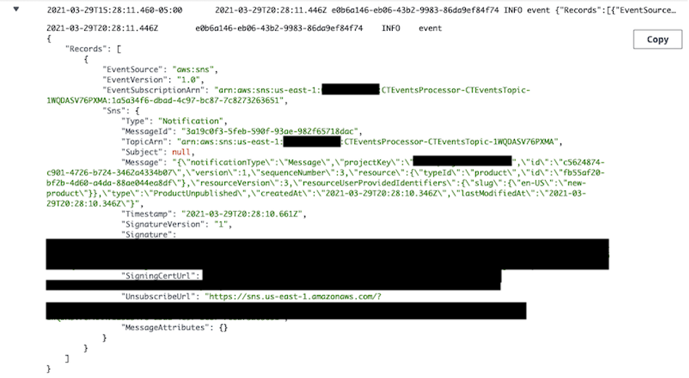 A CloudWatch log for an SNS topic message processed by AWS Lambda