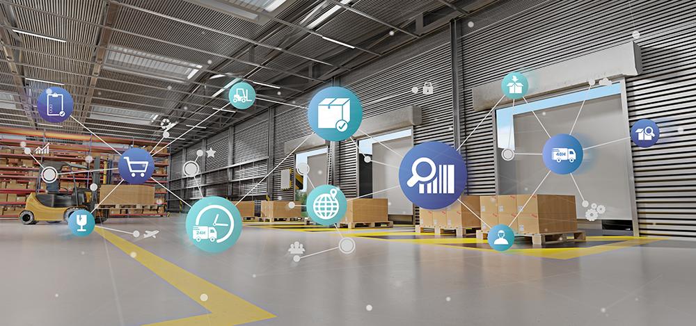stock image of logistics warehouse