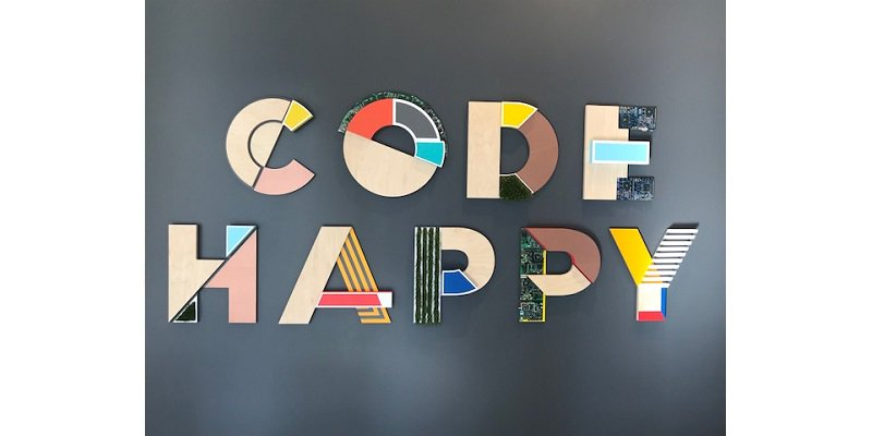"AWS SF loft sign ""Code Happy"""