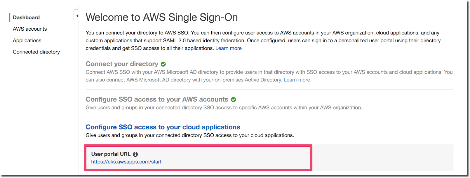 Welcome to AWS Single Sign-On page
