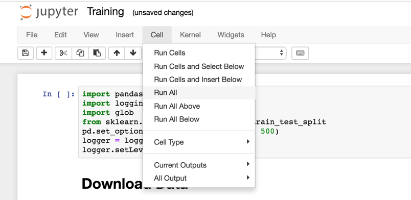 Start the training in the Jupyter notebook with *Cell -> Run All*.