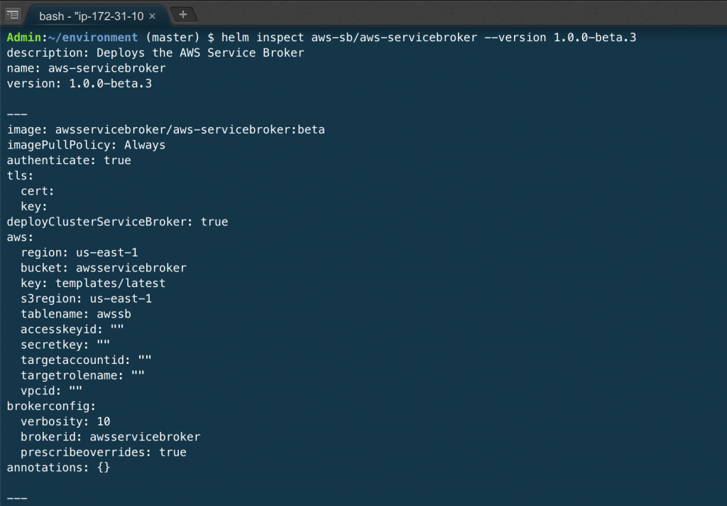 helm inspect aws-sb/aws-servicebroker --version 1.0.0-beta.3.