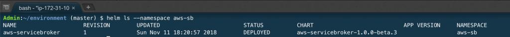 output of helm ls --namespace aws-sb.