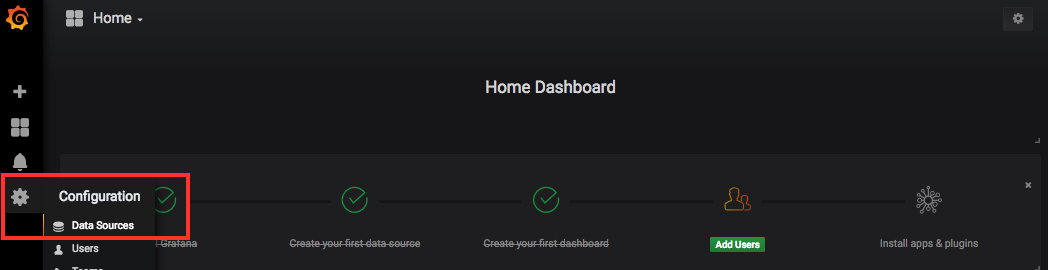 configure Grafana data source.