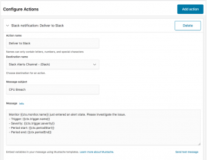 Kibana configure actions dialog.
