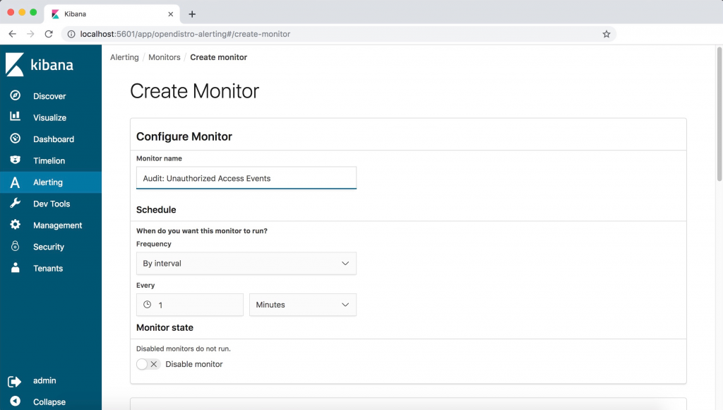 first wizard dialog to create a monitor in open distro for elasticsearch, setting the name and schedule