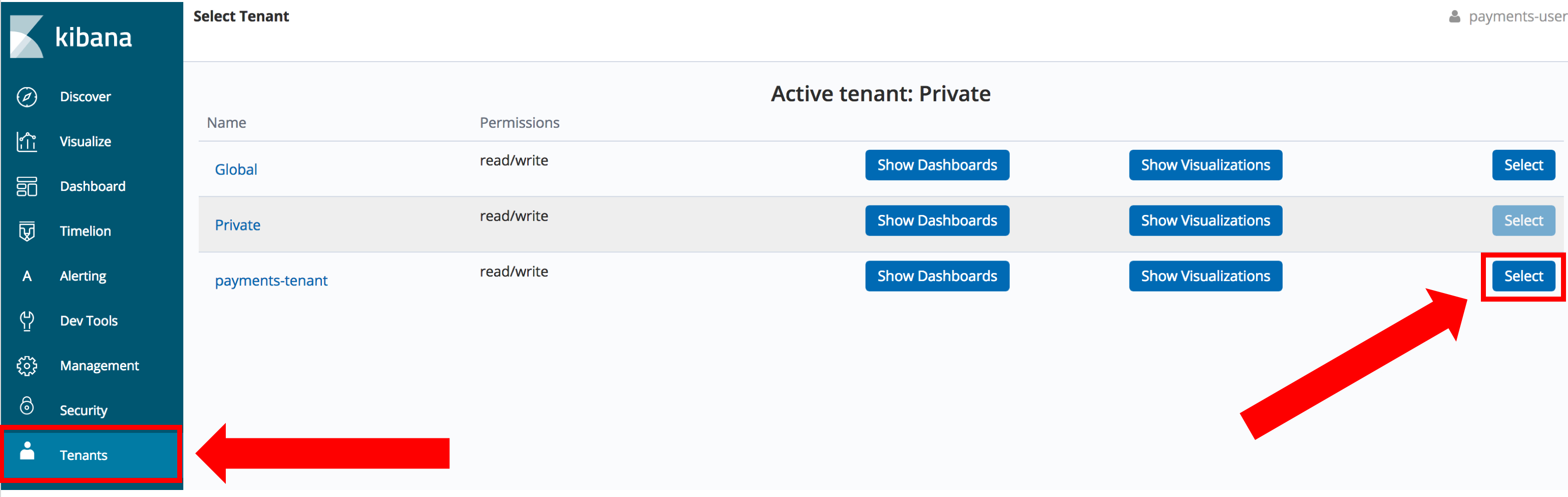 Open Distro for Elasticsearch Security plugin selecting the tenant for Kibana visualizations and dashboards
