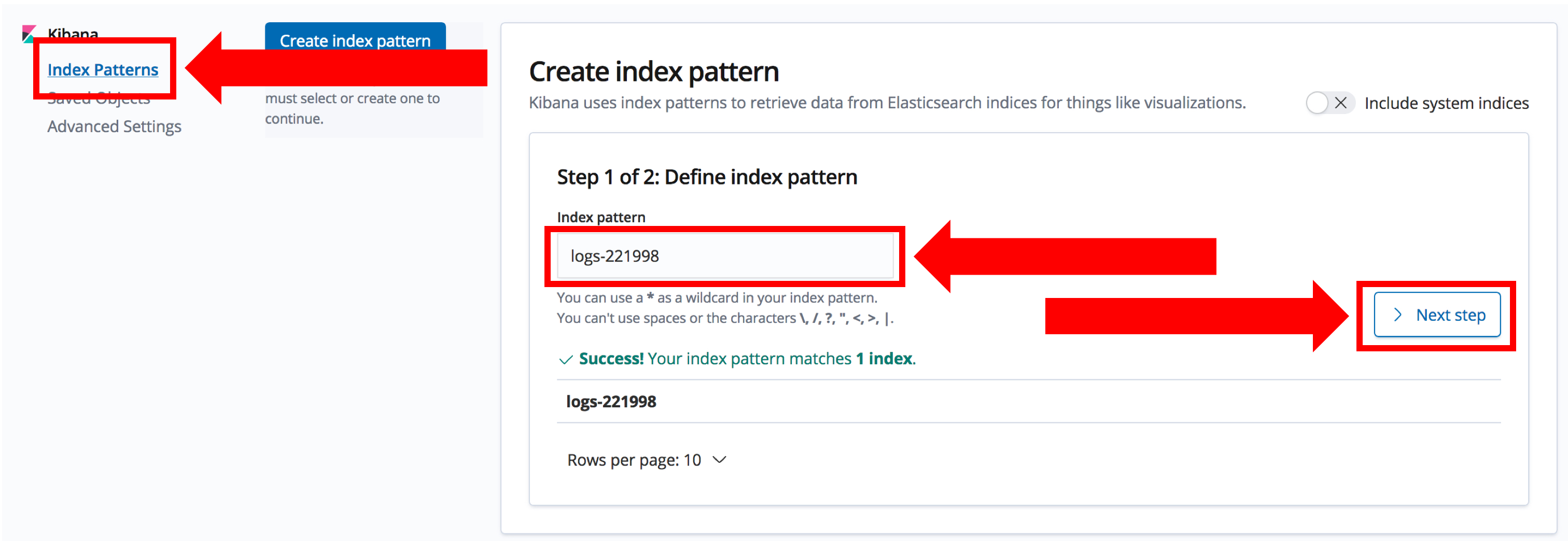 Creating an index pattern in Kibana, showing how to set the specific index