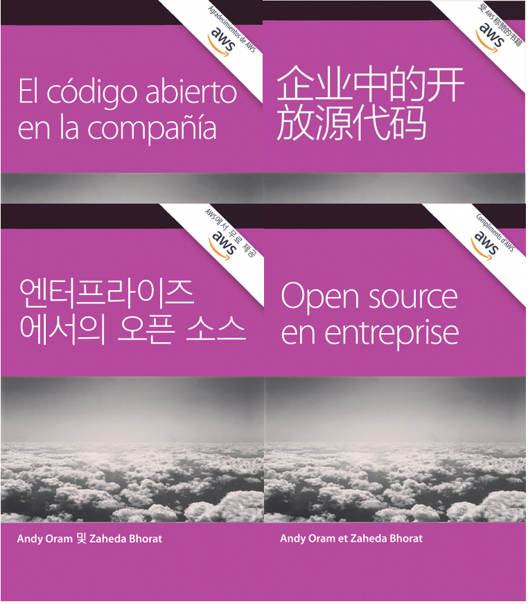 Open Source in the Enterprise book in 4 languages, cover images.