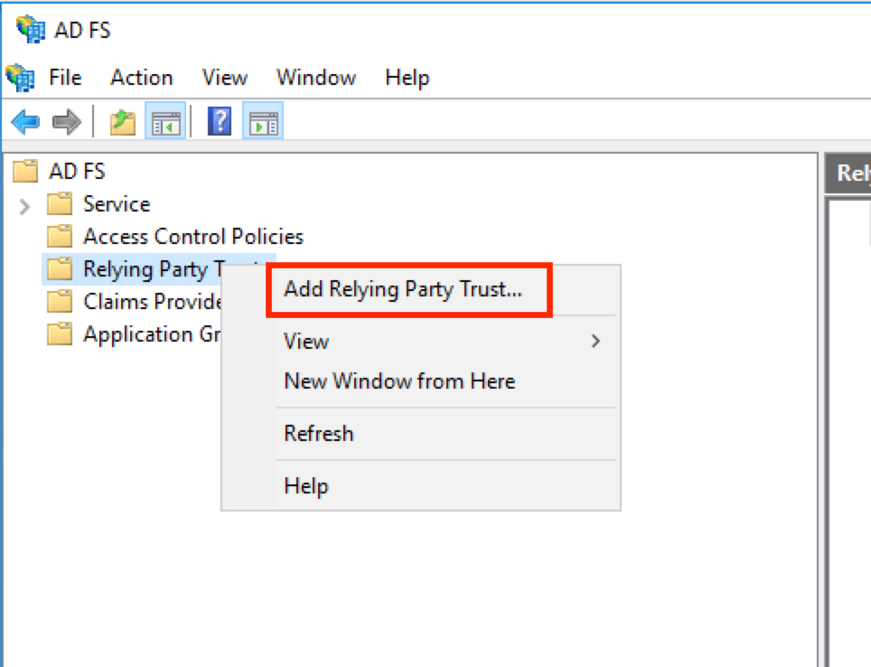 Add relying party dialog box