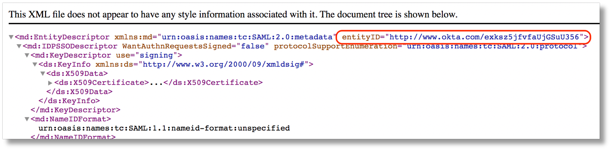 metadata file showing entity id
