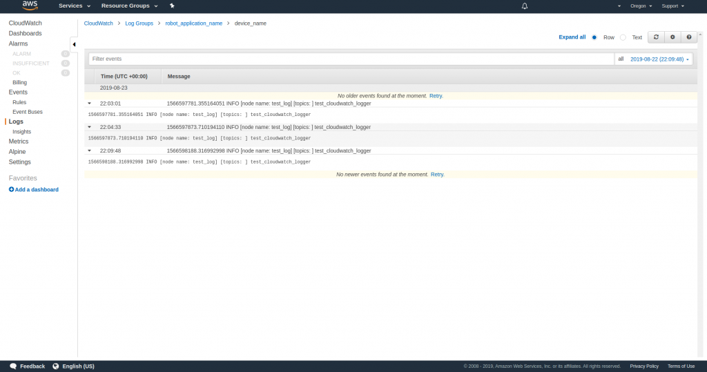 CloudWatch logs console example.