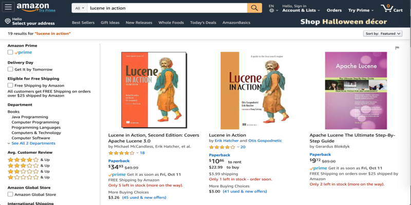Lucene in action Amazon search screenshot.