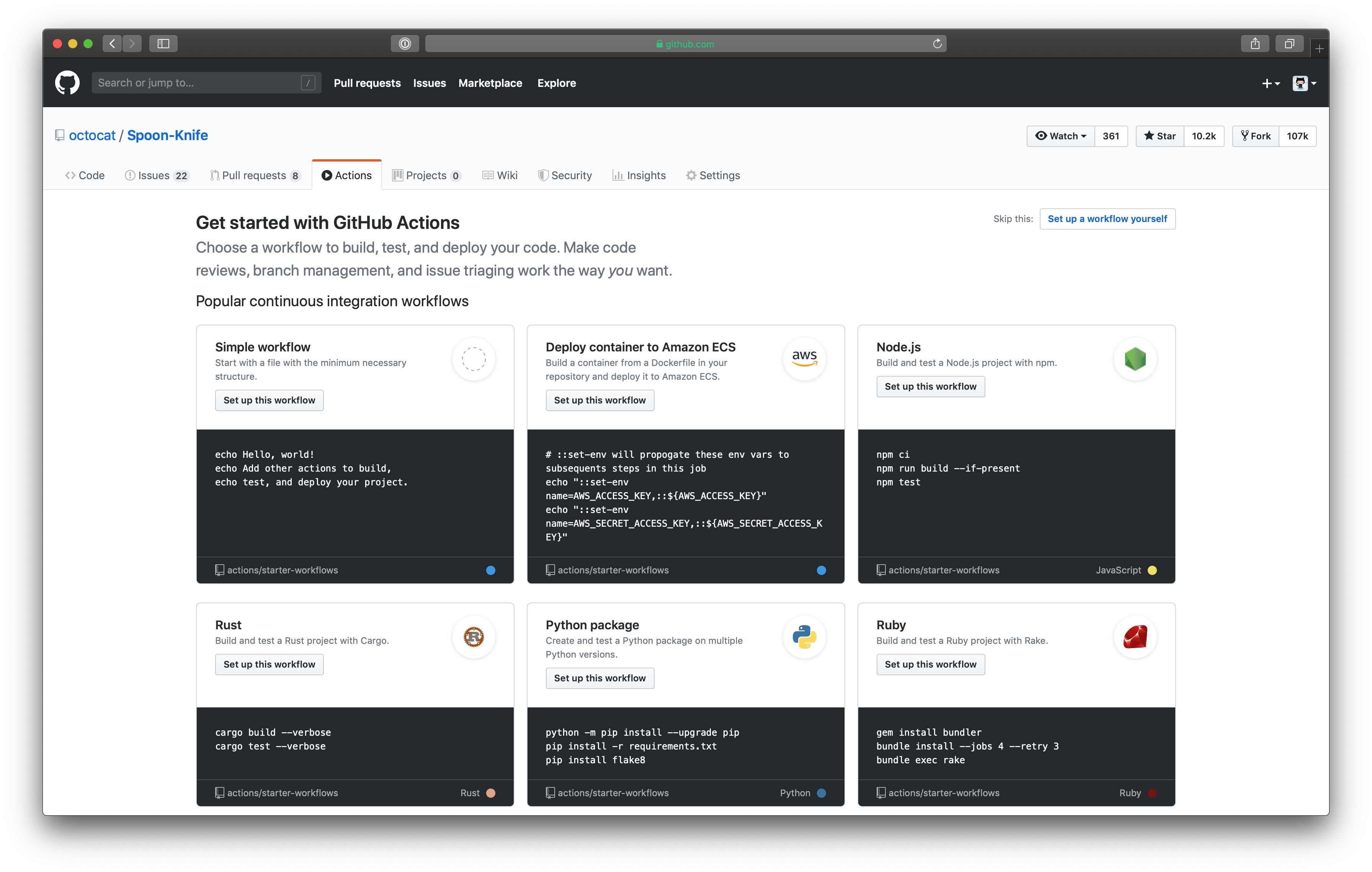 The Actions tab of GitHub Actions.