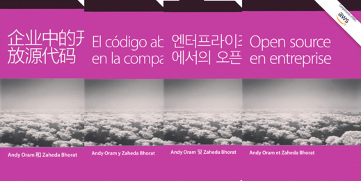 Open source in the enterprise book cover in four languages.