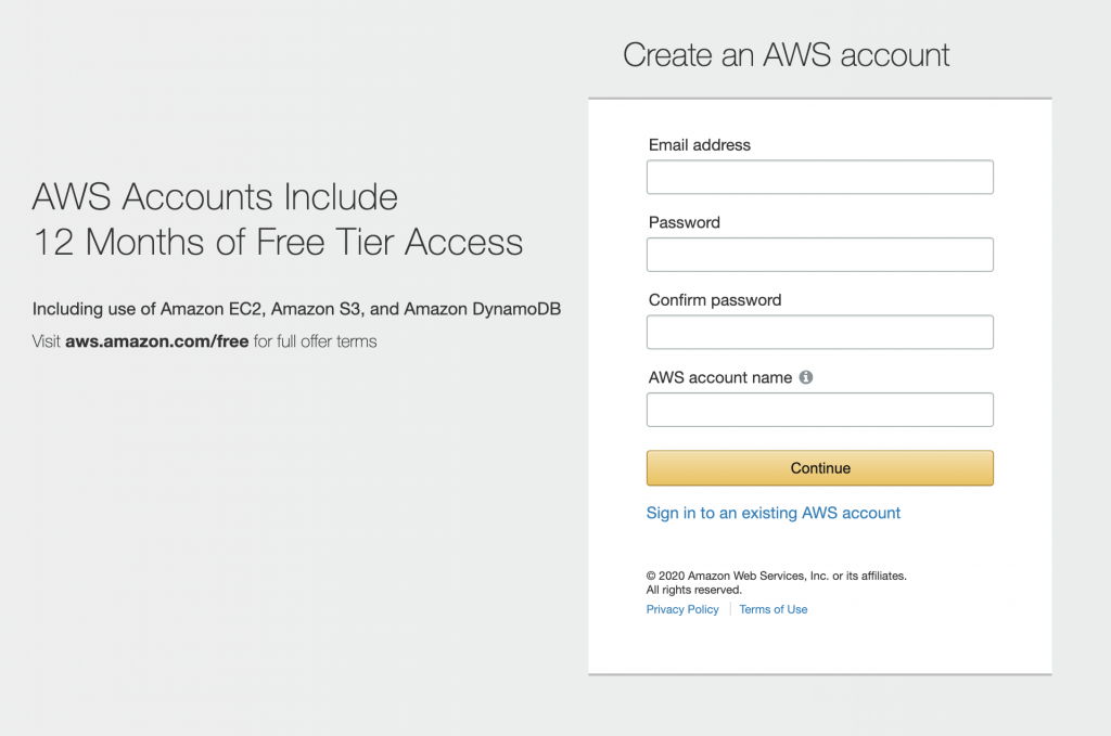 screenshot of fields for creating an AWS account