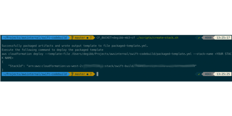 output of ./scripts/create-stack.sh