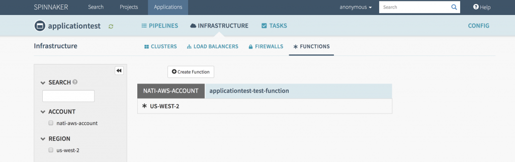 Screenshot of *Functions* tab in every Spinnaker application