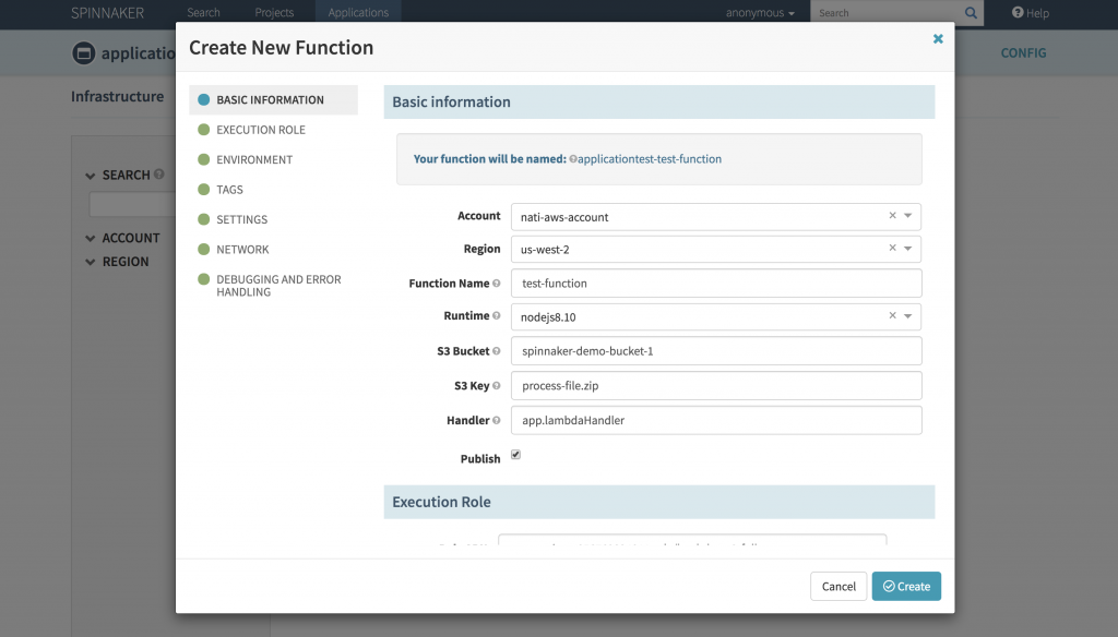 AWS console shows the newly created AWS Lambda function