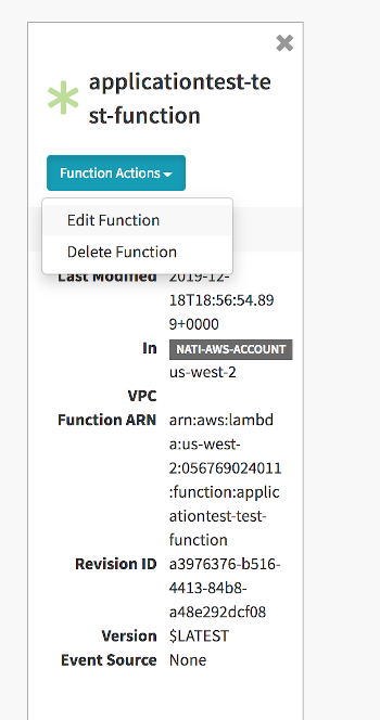 Clicking the *Function Actions* button corresponding to an individual AWS Lambda function lets you access the *Edit Function* details page