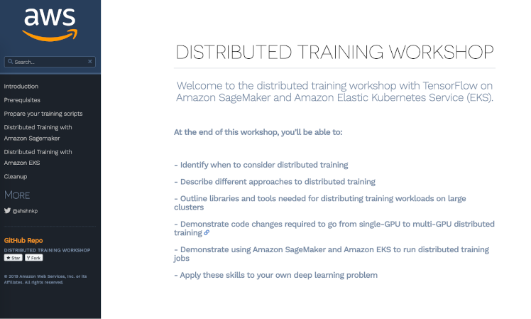 Distributed training workshop homepage screenshot