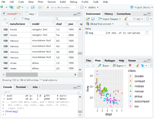 R on AWS: Screenshot of RStudio development environment