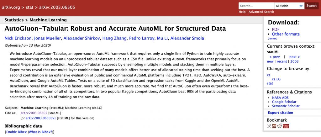 AutoGluon-Tabular 论文的屏幕截图 https://arxiv.org/abs/2003.06505