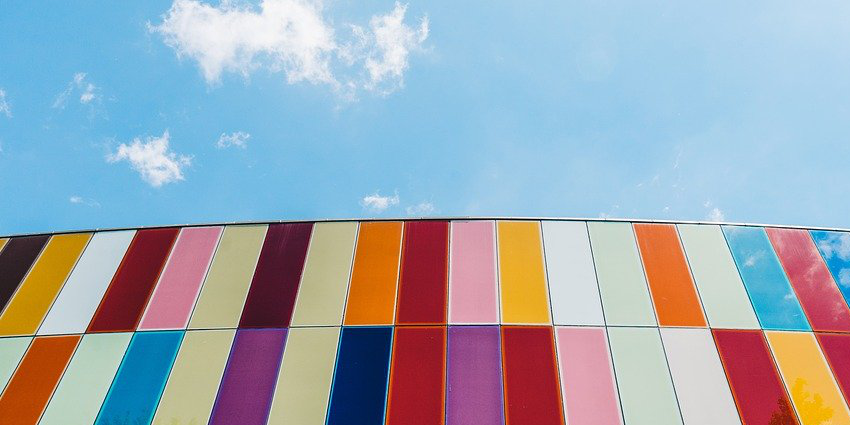 bright colored blocks with cloud and sky