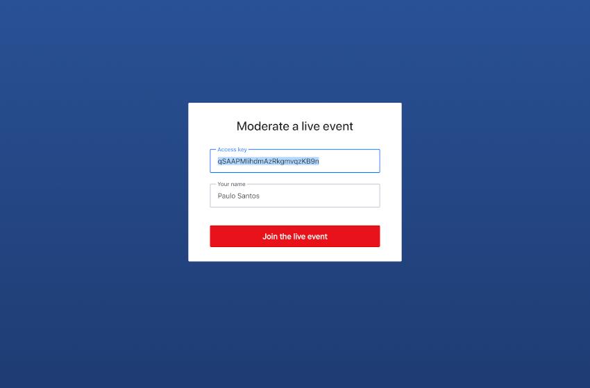 事件主持人登录屏幕。