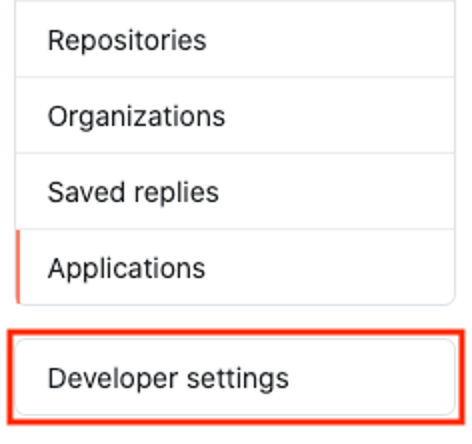 Developer settings option below Applications option at the bottom