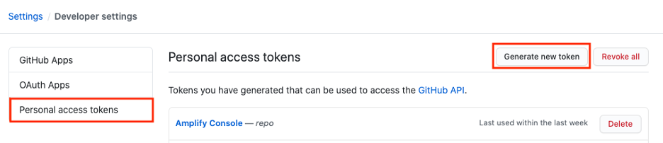 In the developer settings select Personal access token and block on the Generate new token button to create a new token. You can name this token Amplify Console as shown in the screenshot.