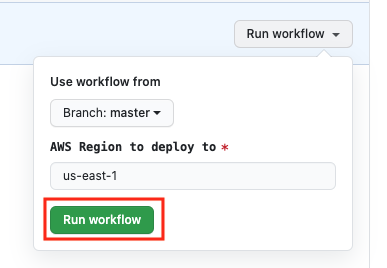 Select the run workflow option and run the workflow