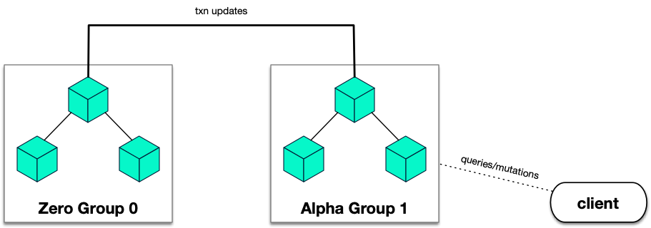 Raft consensus groups in Dgraph showing Zero Group and Alpha Group