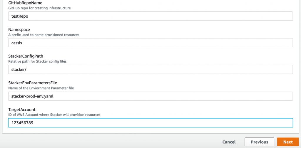Screenshot of stack 2's parameter fields.