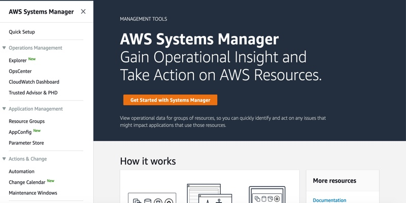 Screenshot of AWS Systems Manager homepage.