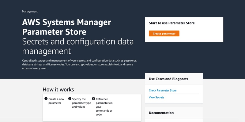 Screenshot of AWS Systems Manager Parameter Store homepage.