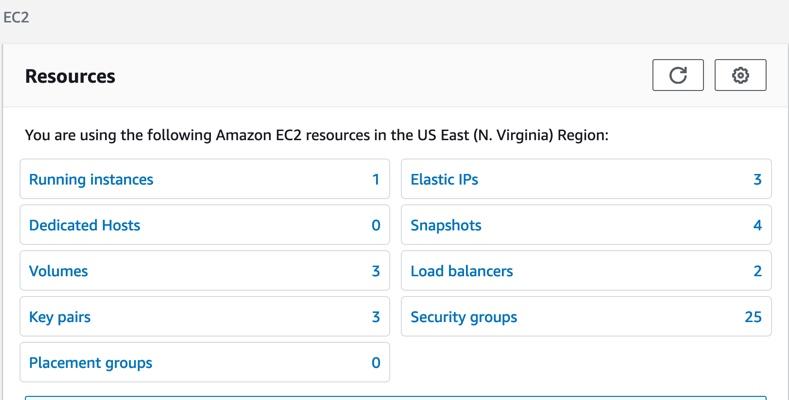 Screenshot of EC2 service resources.