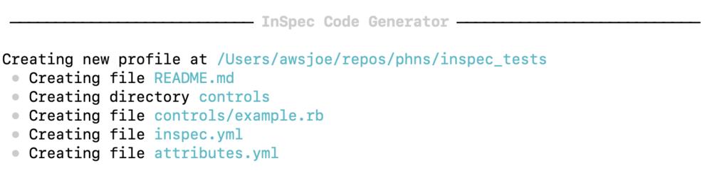 InSpec Code Generator create new profile.