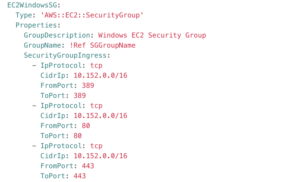 Screenshot of EC2 Windows Security Group results.