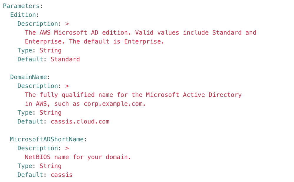 Screenshot of details of the edition, domain name, and MicrosoftADShortName parameters.