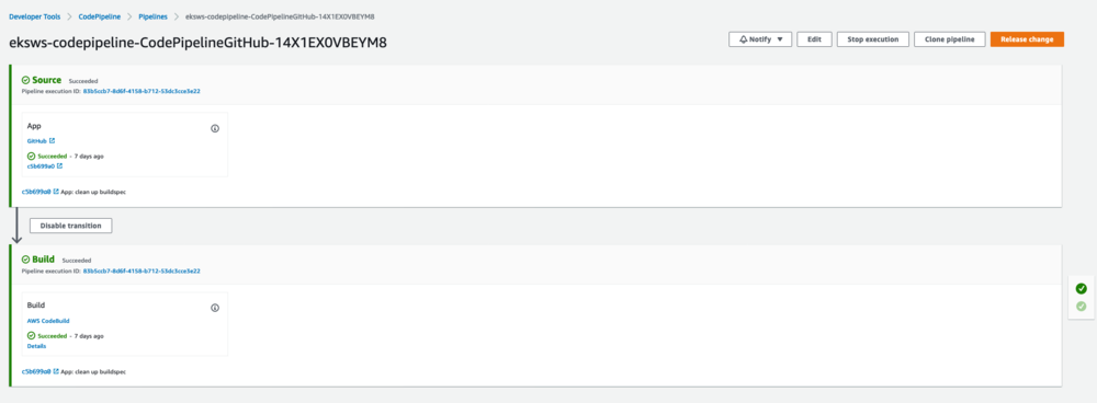 Screenshot of the AWS CodePipeline console where the user is checking the pipeline status and logs.