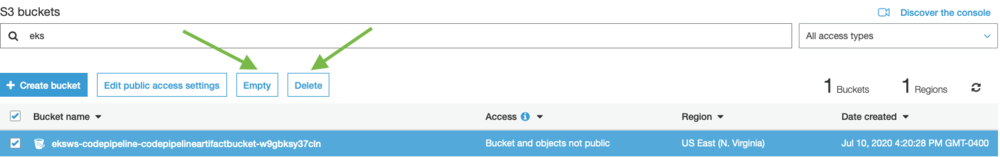 Screenshot showing the process to delete an S3 bucket as part of this example.