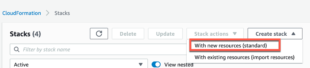 """From the drop down menu select the option, """"With new resources (standard)"""", as shown in the screenshot."""