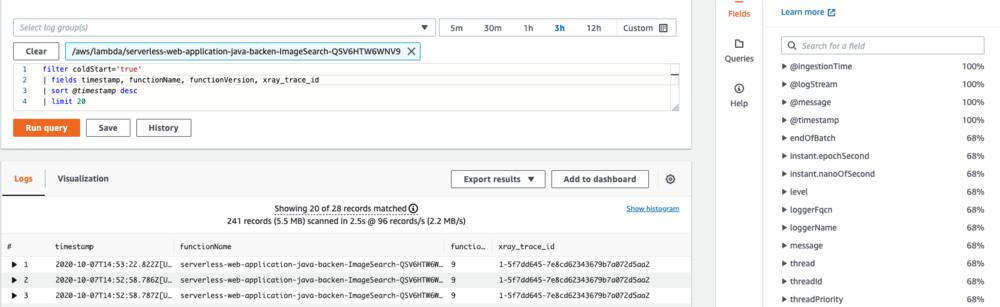 Screenshot of a Lambda cold start output, with key fields displayed.