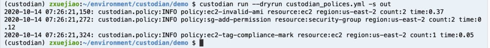 Screenshot of output once you run the command to dry-run Cloud Custodian Policy.