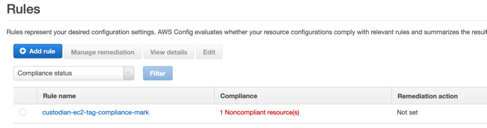 Screenshot of console showing the AWS Config rule.